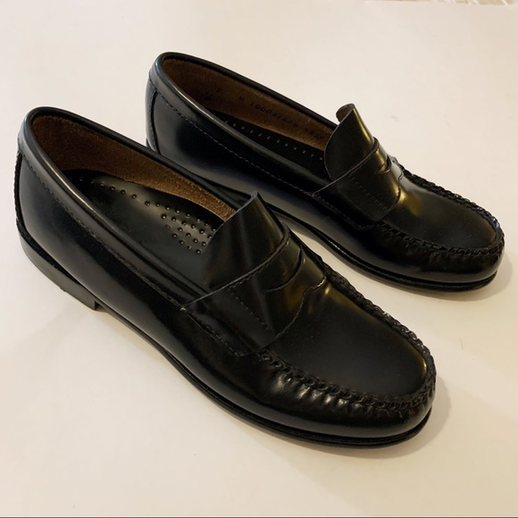 Boys Black Leather Penny Loafers